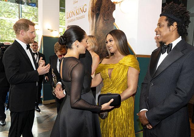 ميغان ماركل والأمير هاري يلتقيان بيونسيه وجاي زي في العرض الأوروبي الأول الأسد الملك، 14 يوليو/تموز 2019