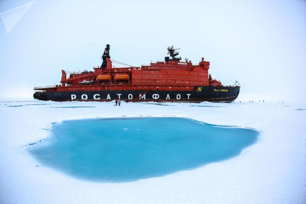 عودة كاسحة الجليد 50 عاما من النصر مع تلاميذ المدارس (70 شخصا) من رحلة إلى القطب الشمالي
