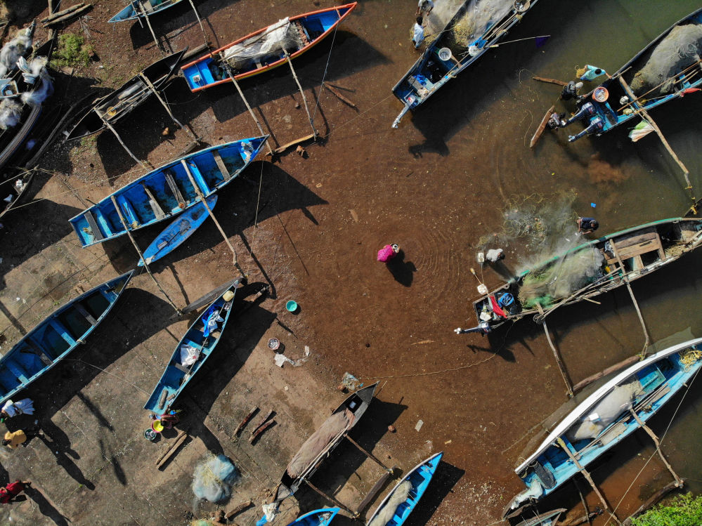 الباعة يشترون الأسماك في ميناء للصيد في قرية أغوندا في جنوب غوا غرب الهند، 29 سبتمبر 2019