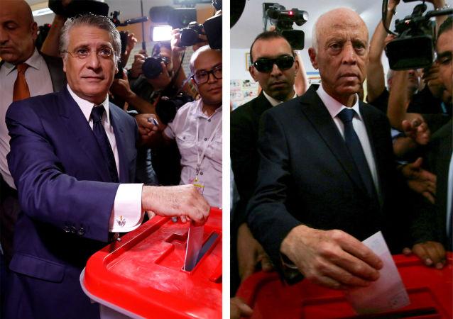 المترشحان قيس سعيد ونبيل القروي يدليان بصوتيهما في الدور الثاني للانتخابات الرئاسية التونسية