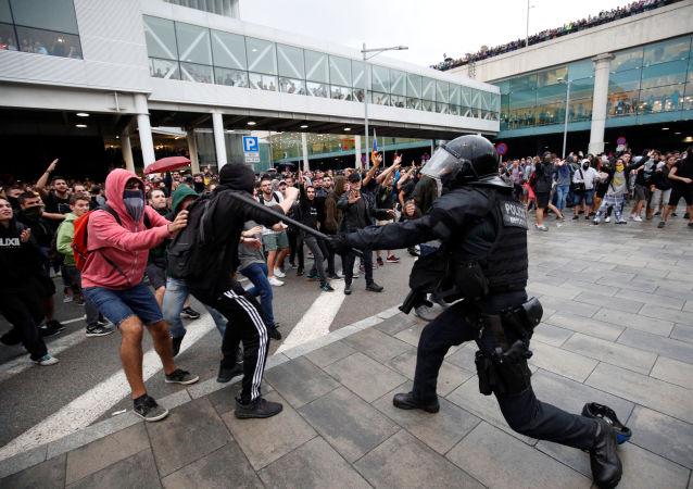 احتجاجات كتالونيا، برشلونة، إسبانيا 14 أكتوبر 2019