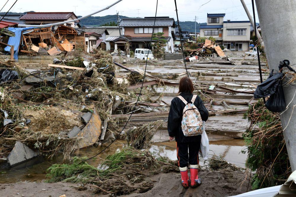 تداعيات إعصار هاغيبيس في ناغانو، اليابان، 15 أكتوبر 2019