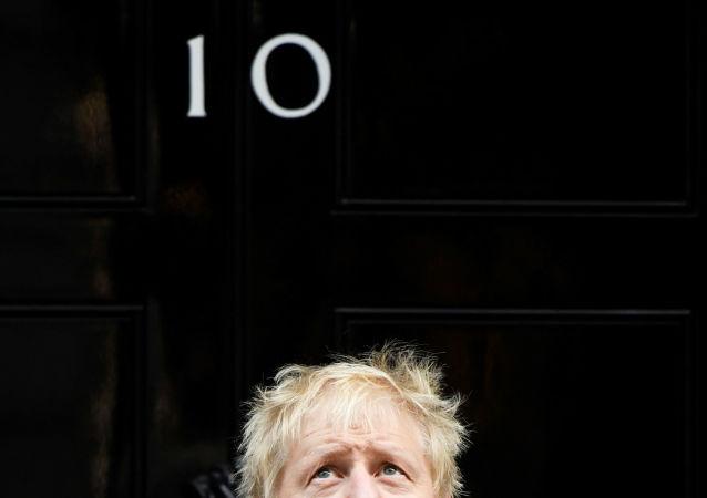 رئيس الوزراء البريطاني بوريس جونسون على خلفية باب إقامته في داونينغ ستريت في لندن، 28 أكتوبر 2019