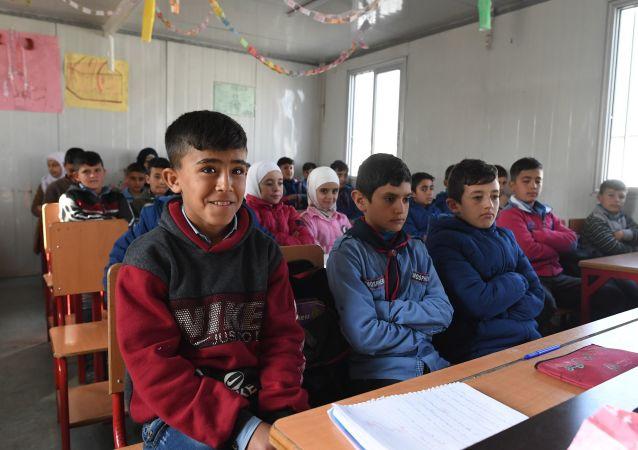 مخيم حرجلة للاجئين السوريين والنازحين من إدلب، بالقرب من دمشق، سوريا