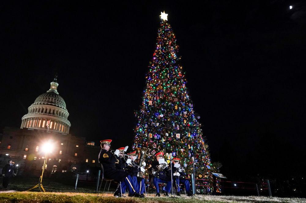 مراسم إضاءة شجرة عيد الميلاد، التي أحضرت من غابة كارسون الوطنية في نيو مكسيكو، إلى كابيتول في واشنطن، 2019
