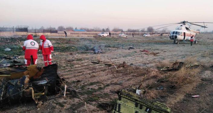 The crashed Ukrainian plane in Iran