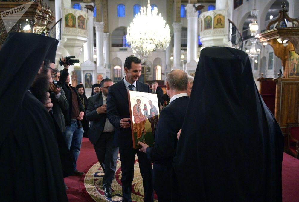 الرئيس فلاديمير بوتين والرئيس بشار الأسد يزوران الكنيسة المريمية في دمشق، 7 يناير 2020