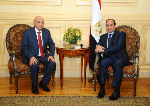 الرئيس المصري عبد الفتاح السيسي ورئيس مجلس النواب الليبي المستشار عقيلة صالح