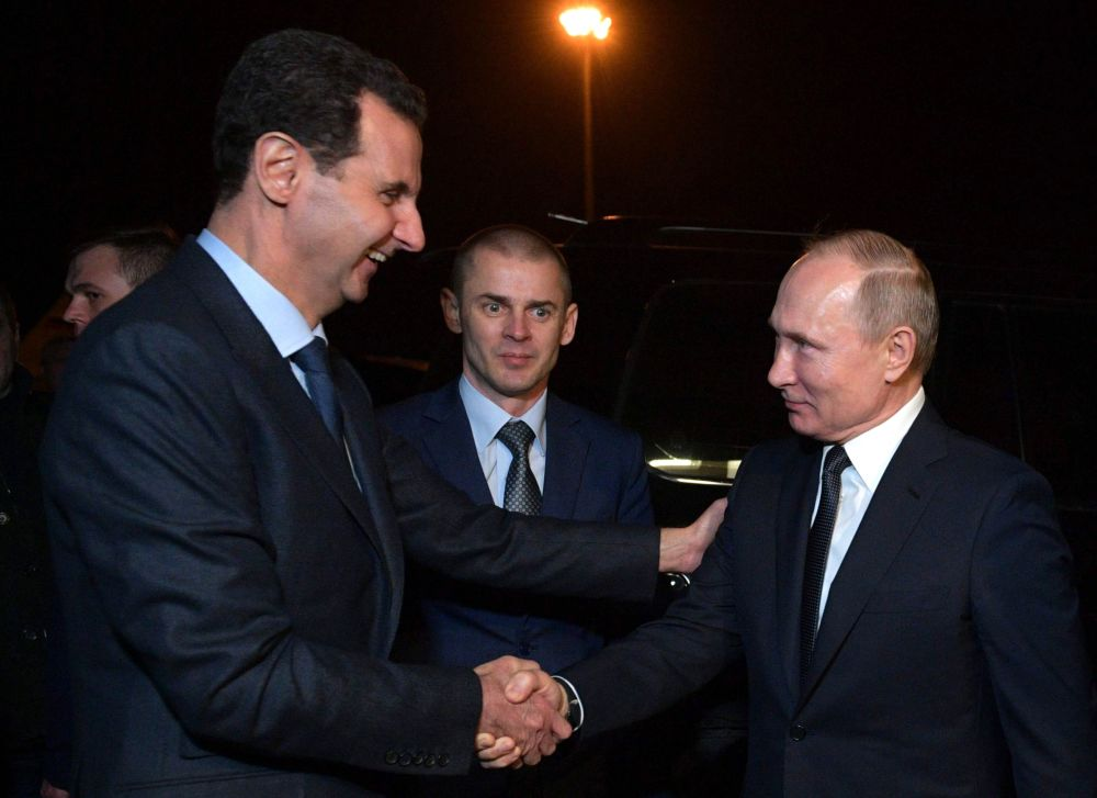 الرئيس الروسي  فلاديمير بوتين والرئيس السوري بشار الأسد بعد انتهاء اللقاء في دمشق، سوريا 7 يناير 2020