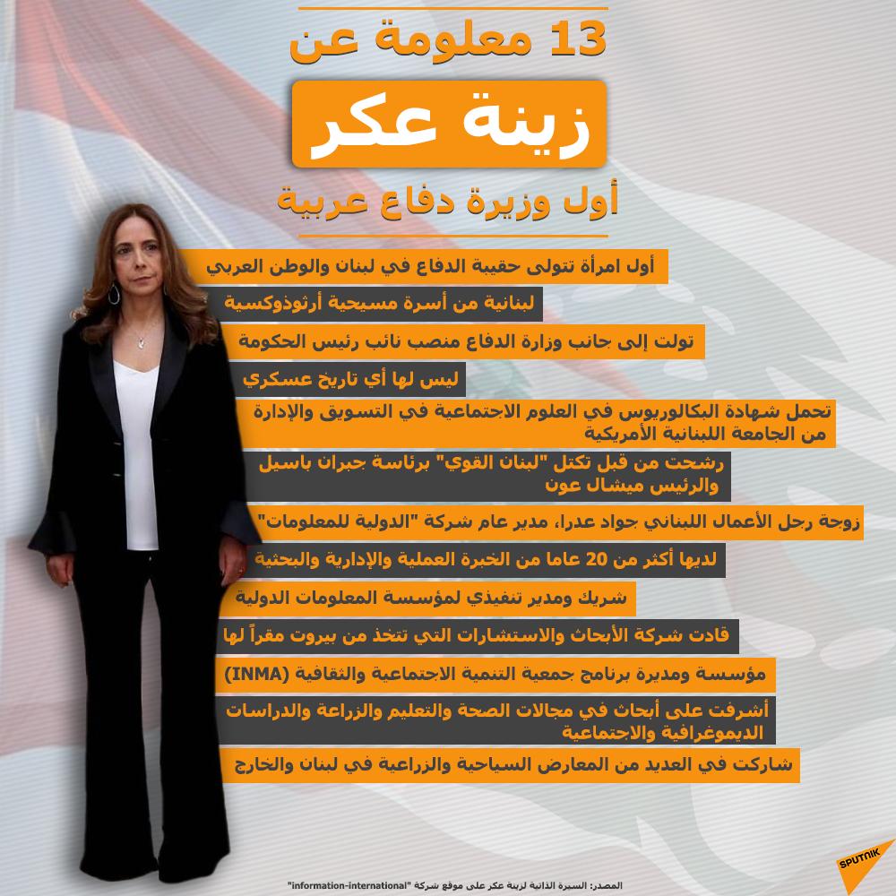 13 معلومة عن زينة عكر أول وزيرة دفاع عربية