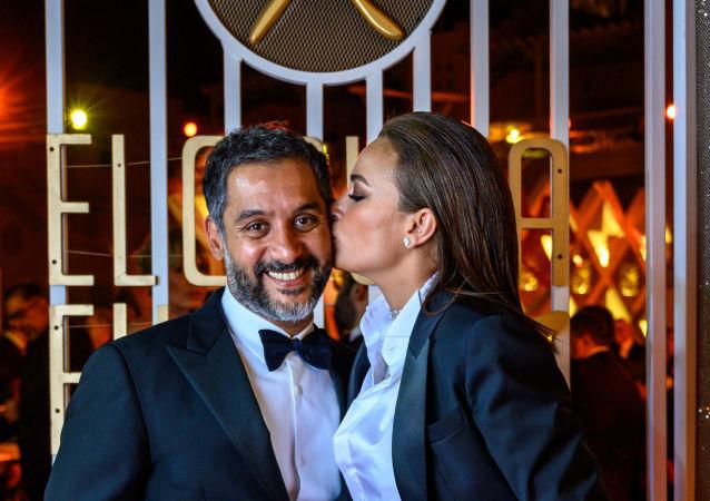 الممثلة التونسية هند صبري مع زوجها رجل الأعمال المصري أحمد الشريف في حفل ختام مهرجان الجونة السينمائي الثالث، القاهرة، 27 سبتمبر/ أيلول 2019