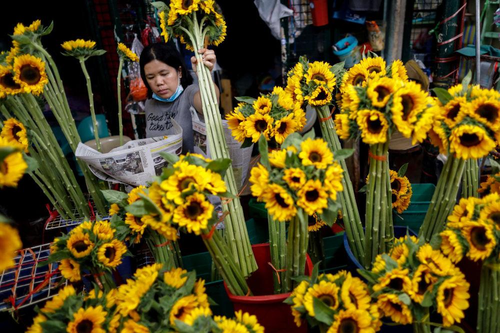 بائعة زهور في يوم فالنتاين (عيد الحب) في مانيلا، الفلبين 14 فبراير 2020