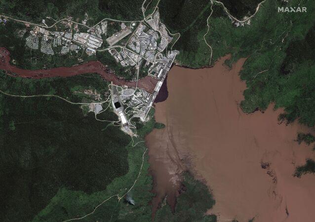 صور أقمار صناعية جديدة تظهر بدء ملء خزان سد النهضة