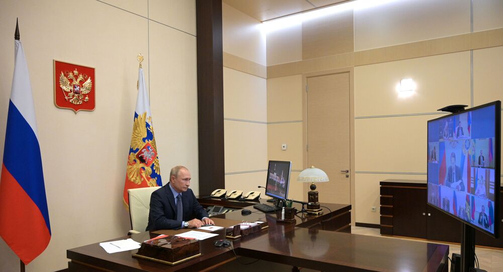 الرئيس الروسي فلاديمير بوتين يجتمع مع الأعضاء الدائمين في مجلس الأمن للاتحاد الروسي