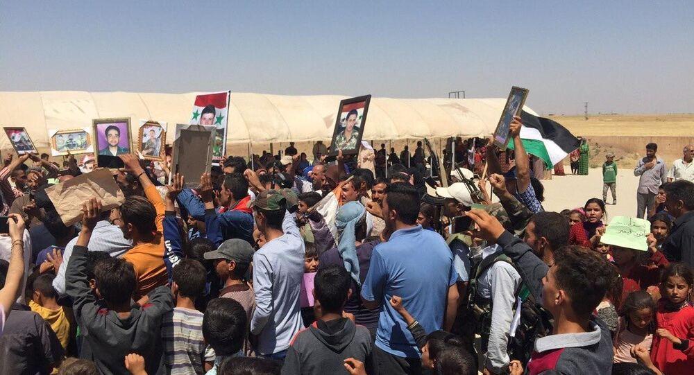 مظاهرات لإخراج الجيش الأمريكية في محافظة الحسكة السورية