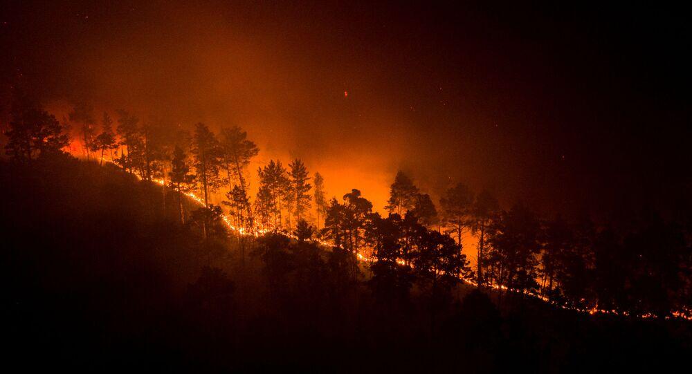 اشتعال الحرائق في غابات سيبيريا، إقليم كراسنويارسك، روسيا 17 يوليو 2020