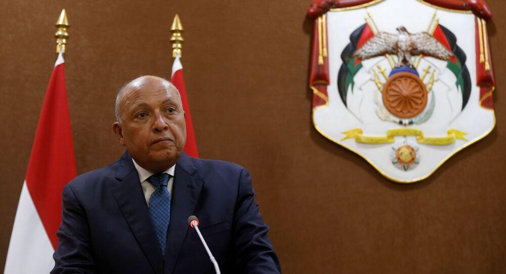 وزير الخارجية المصري سامح شكري في عمان، الأردن 19 يوليو 2020