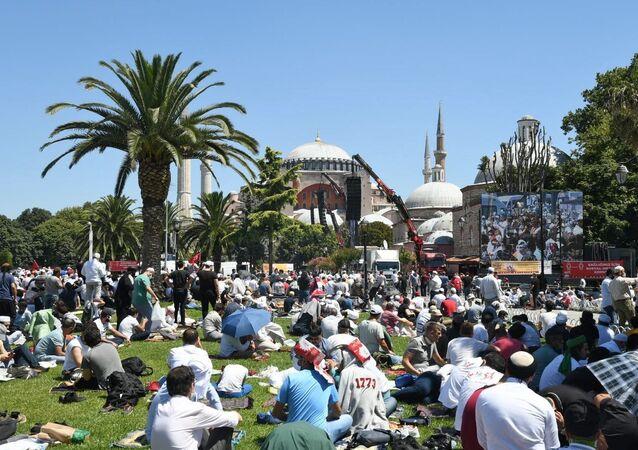 الصلاة في آيا صوفيا، اسطنبول، تركيا 24 يوليو 2020