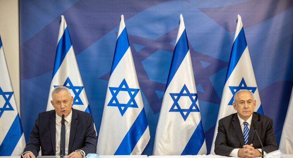 وزير الدفاع الإسرائيلي بيني غانتس ورئيس الوزراء الإسرائيلي بنيامين نتنياهو عقب تصاعد التوتر العسكري على الحدود اللبنانية الإسرائيلية، لبنان، إسرائيل 27 يوليو 2020