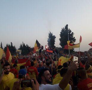 جماهير فريق تشرين بعد الفوز بلقب بطولة الدوري السوري لكرة القدم 2020