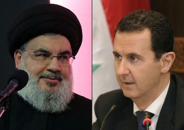 الرئيس السوري بشار الأسد، الأمين العام لحزب الله حسن نصر الله