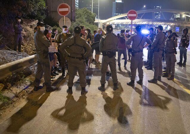 احتجاجات مناهضة للحكومة في القدس ضد رئيس الوزراء الإسرائيلي بنيامين نتنياهو