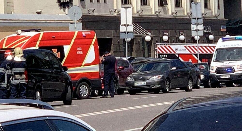 عملية القبض على محتجز الرهائن بإحدى البنايات في العاصمة كييف، أوكرانيا 8 أغسطس 2020