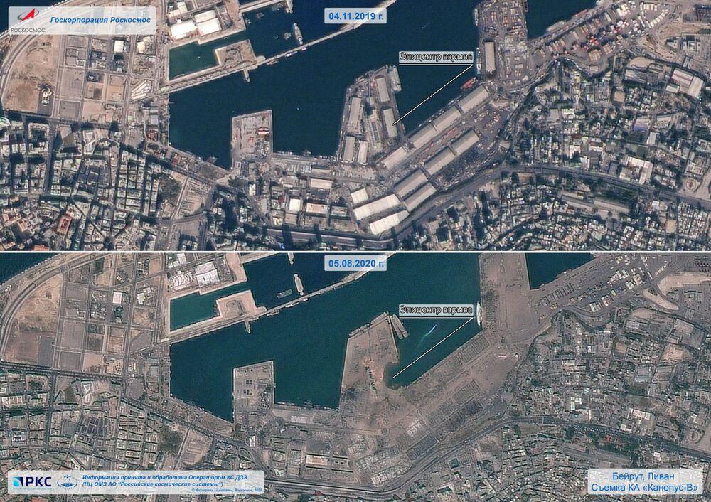 صورة أقمار صناعية، بتاريخ 5 أغسطس/ آب، تم الحصول عليها بإذن من وكالة الفضاء الروسية، تظهر مرفأ بيروت بعد الانفجار في 4 أغسطس/ آب 2020.