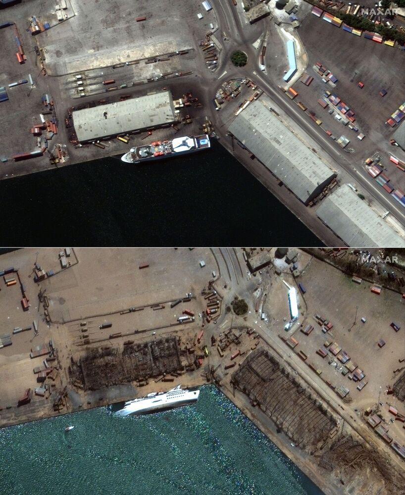 صورة أقمار صناعية، بتاريخ 31 يوليو/ حزيران، تم الحصول عليها بإذن من شركة ماكسار تكنولوجيز الأمريكية، تظهر  صورة تقارن مرفأ بيروت قبل و بعد الانفجار في 4 أغسطس 2020.