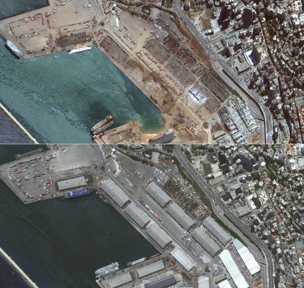 صورة أقمار صناعية، بتاريخ 5 أغسطس/ آب، تم الحصول عليها بإذن من شركة ماكسار تكنولوجيز الأمريكية، تظهر صورة تقارن مرفأ بيروت قبل و بعد الانفجار في 4 أغسطس 2020.