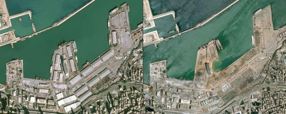 صورة أقمار صناعية، بتاريخ 5 أغسطس/ آب، تم الحصول عليها بإذن من المركز الوطني للدراسات الفضائية الفرنسية، تظهر صورة تقارن مرفأ بيروت قبل و بعد الانفجار في25 يناير/ كانون الثاني و 4 أغسطس/ آب 2020.