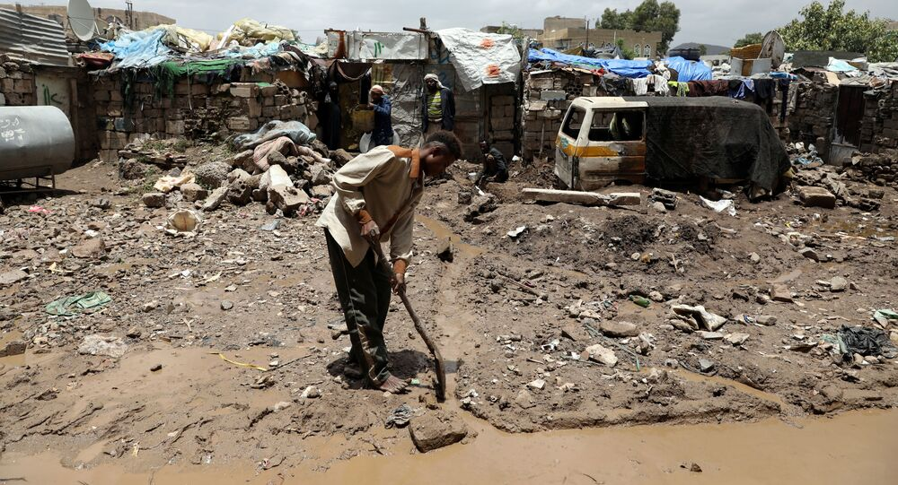 آثار الأمطار الغزيرة في اليمن