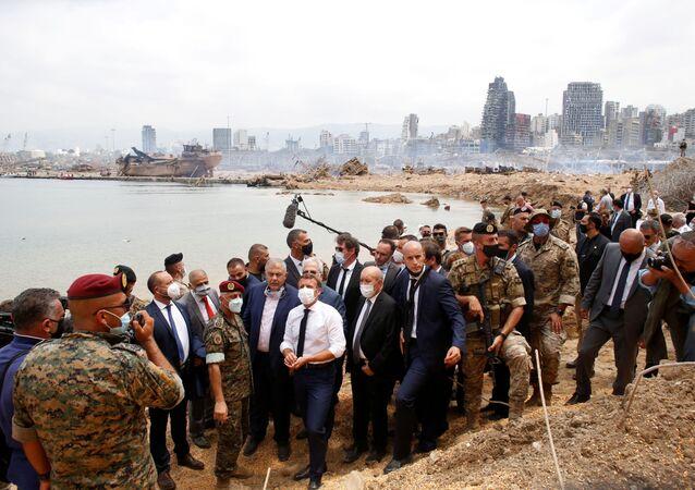 الرئيس الفرنسي إيمانويل ماكرون في بيروت، لبنان 6 أغسطس 2020