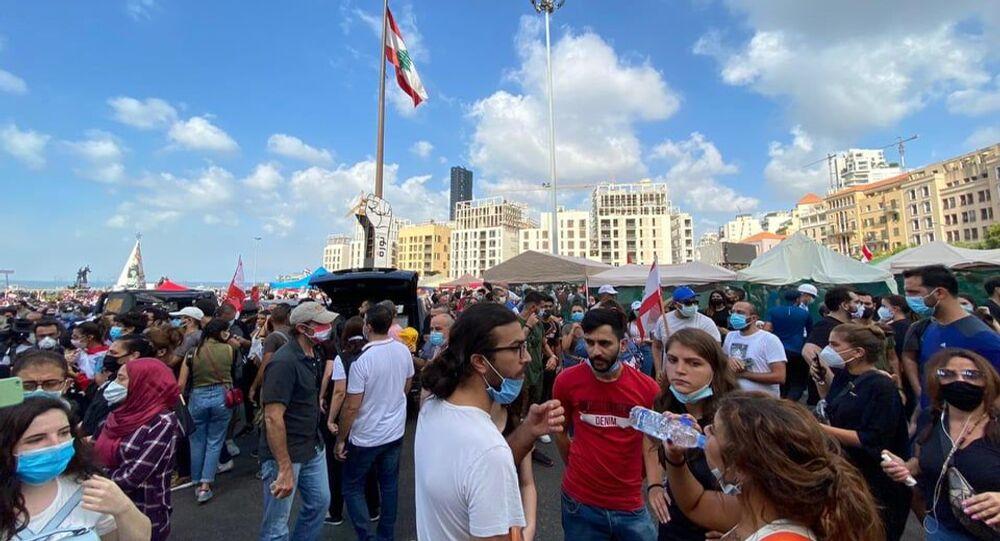 احتجاجات في لبنان على خلفية حادثة انفجار مرفأ بيروت
