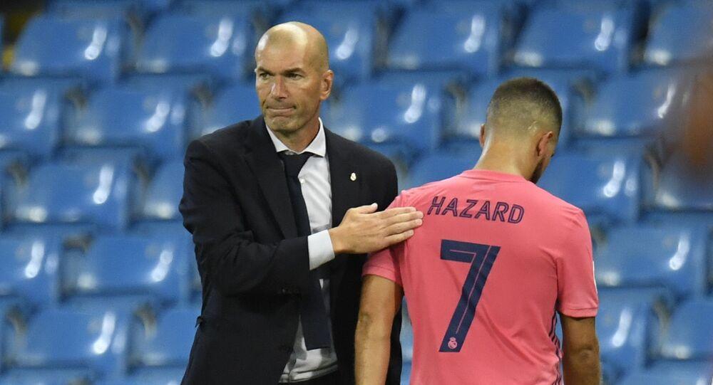 زيدان وهازارد من ماباراة ريال مدريد ومانشستر سيتي