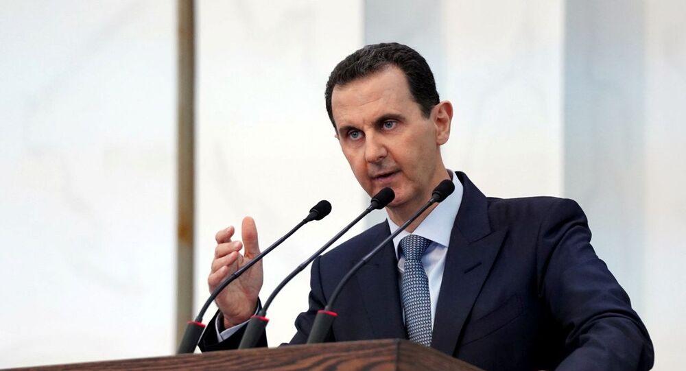 الرئيس السوري بشار الأسد في كلمة أمام أعضاء مجلس الشعب في القصر الرئاسي