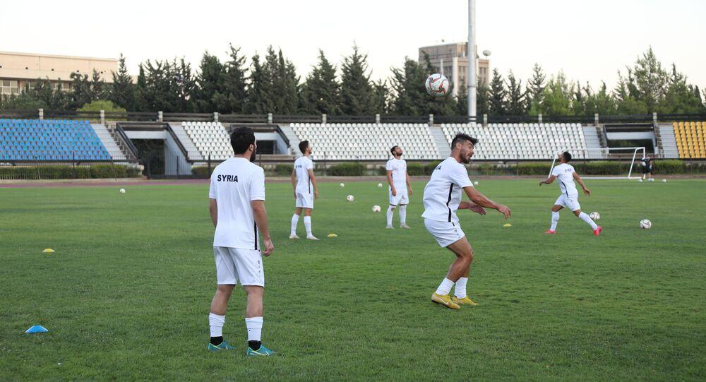 منتخب سوريا لكرة القدم في حصة تدريبية