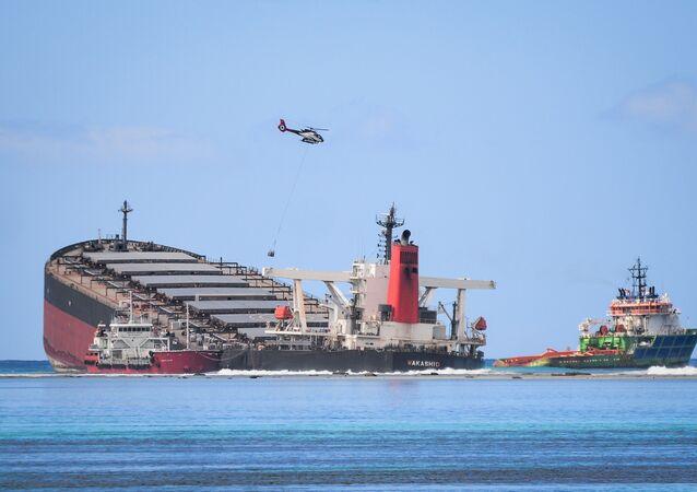 سفينة شحن يابانية بالقرب من جزيرة موريشيوس