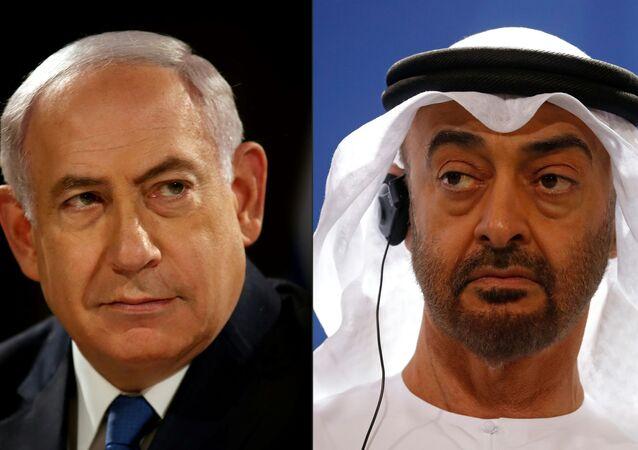 رئيس الوزراء الإسرائيلي بنيامين نتنياهو وولي عهد أبو ظبي الشيخ محمد بن زايد
