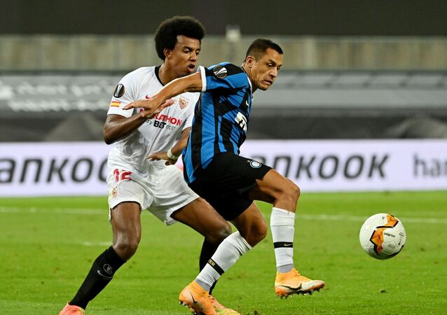 من مباراة إشبيلية مع إنتر ميلان في نهائي الدوري الأوروبي، 21 أغسطس/آب 2020