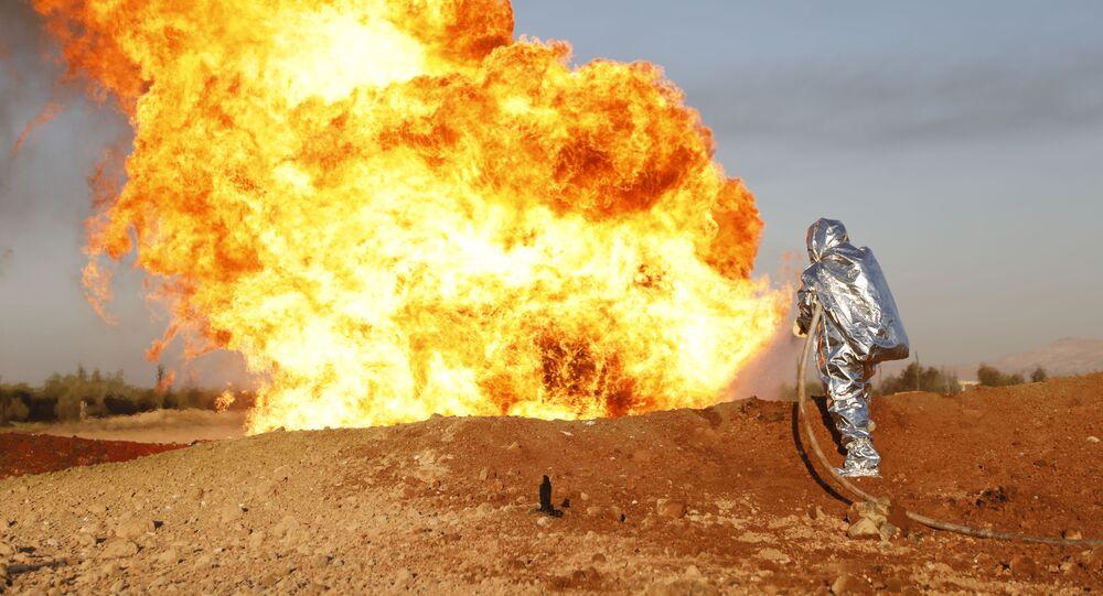 تفجير إرهابي يستهدف خط الغاز العربي بين منطقتي الضمير وعدرا شمال شرق دمشق، سوريا 24 أغسطس 2020