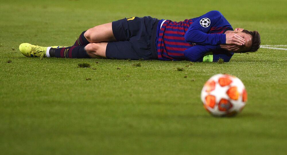 الأرجنتيني ليونيل ميسي، لاعب فريق نادي برشلونة في إسبانيا، 2019