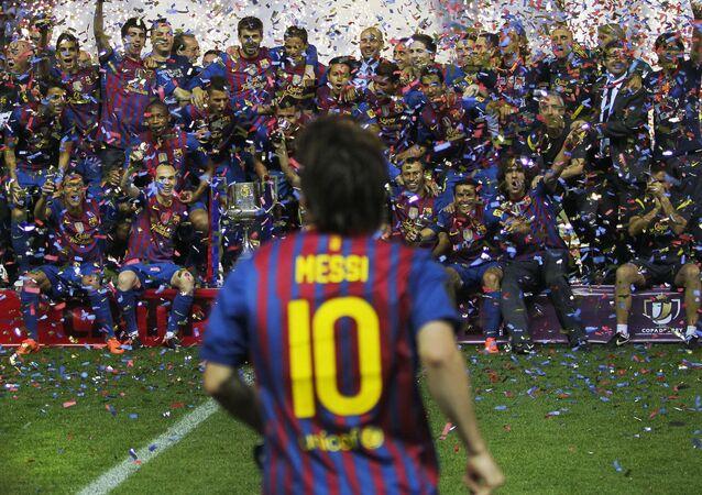 الأرجنتيني ليونيل ميسي، لاعب فريق نادي برشلونة في إسبانيا، 2012