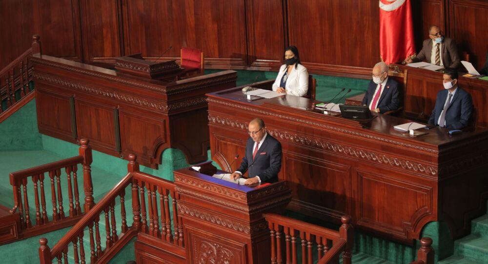 رئيس الحكومة التونسي المكلف هشام المشيشي أثناء خطابه في البرلمان التونسي، 1 سبتمبر/ أيلول 2020