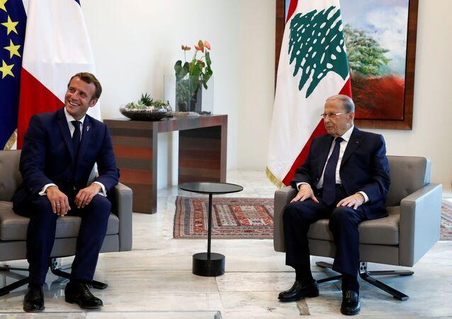 مراسم استقبال الرئيس الفرنسي إيمانويل ماكرون في بعبدا، لبنان 1 سبتمبر 2020