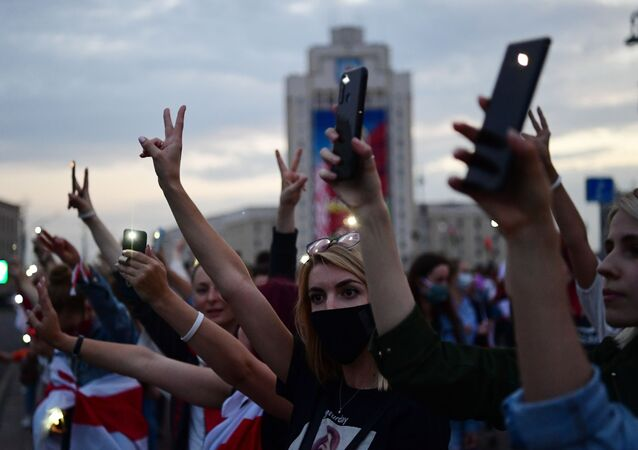 استمرار الاحتجاجات في ميدان الاستقلال في مدينة مينسك، بيلاروسيا 2 سبتمبر 2020