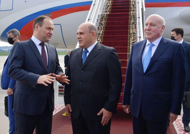 رئيس الوزراء الروسي ميخائيل ميشوستين يصل مدينة مينسك، بيلاروسيا 3 سبتمبر 2020