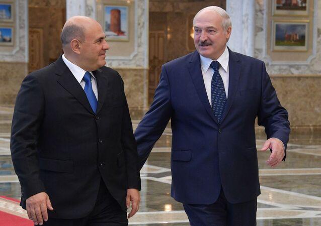 الرئيس البيلاروسي ألكسندر لوكاشينكو يلتقي مع رئيس الوزراء الروسي ميخائيل ميشوستين في مينسك، بيلاروسيا 3 سبتمبر 2020