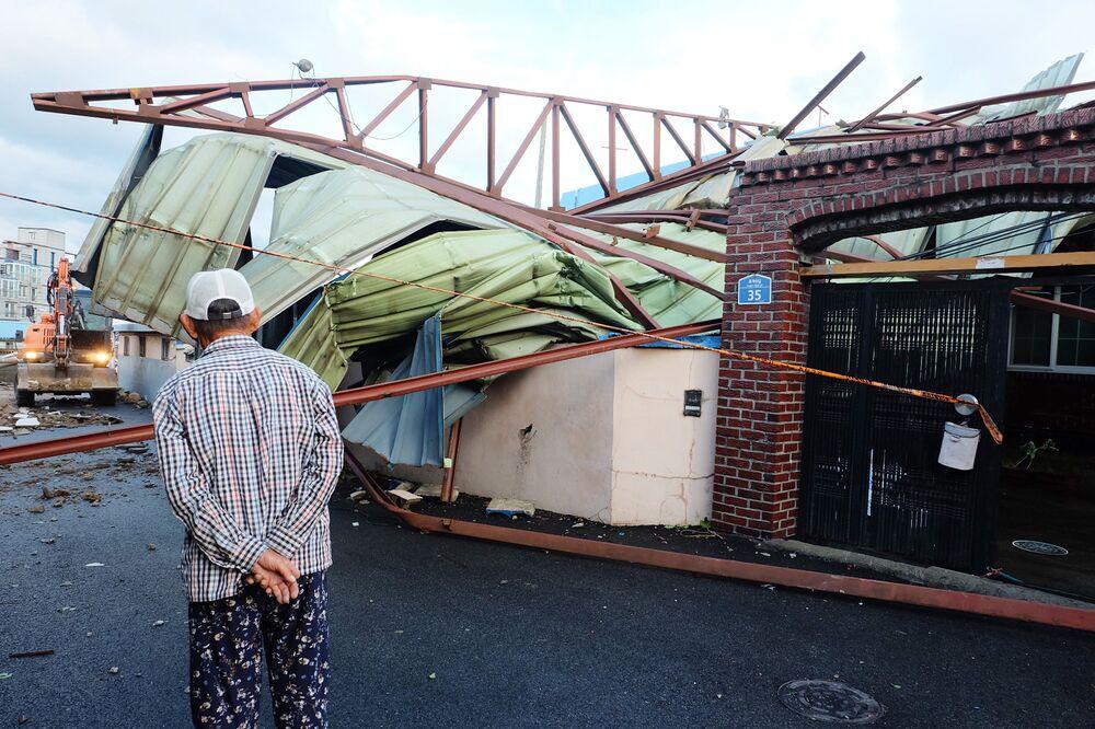 آثار إعصار مايساك في مدينة أولسان، كوريا الجنوبية 3 سبمتبر 2020