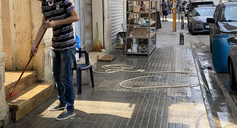في إحدى شوارع حي جميزة، أحد أكثر الأحياء اكتظاظا في بيروت، لبنان 4 سبتمبر 2020